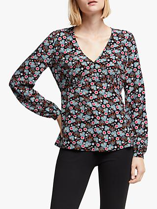 Boden Viola Bloom Top, Black/Romantic Bloom