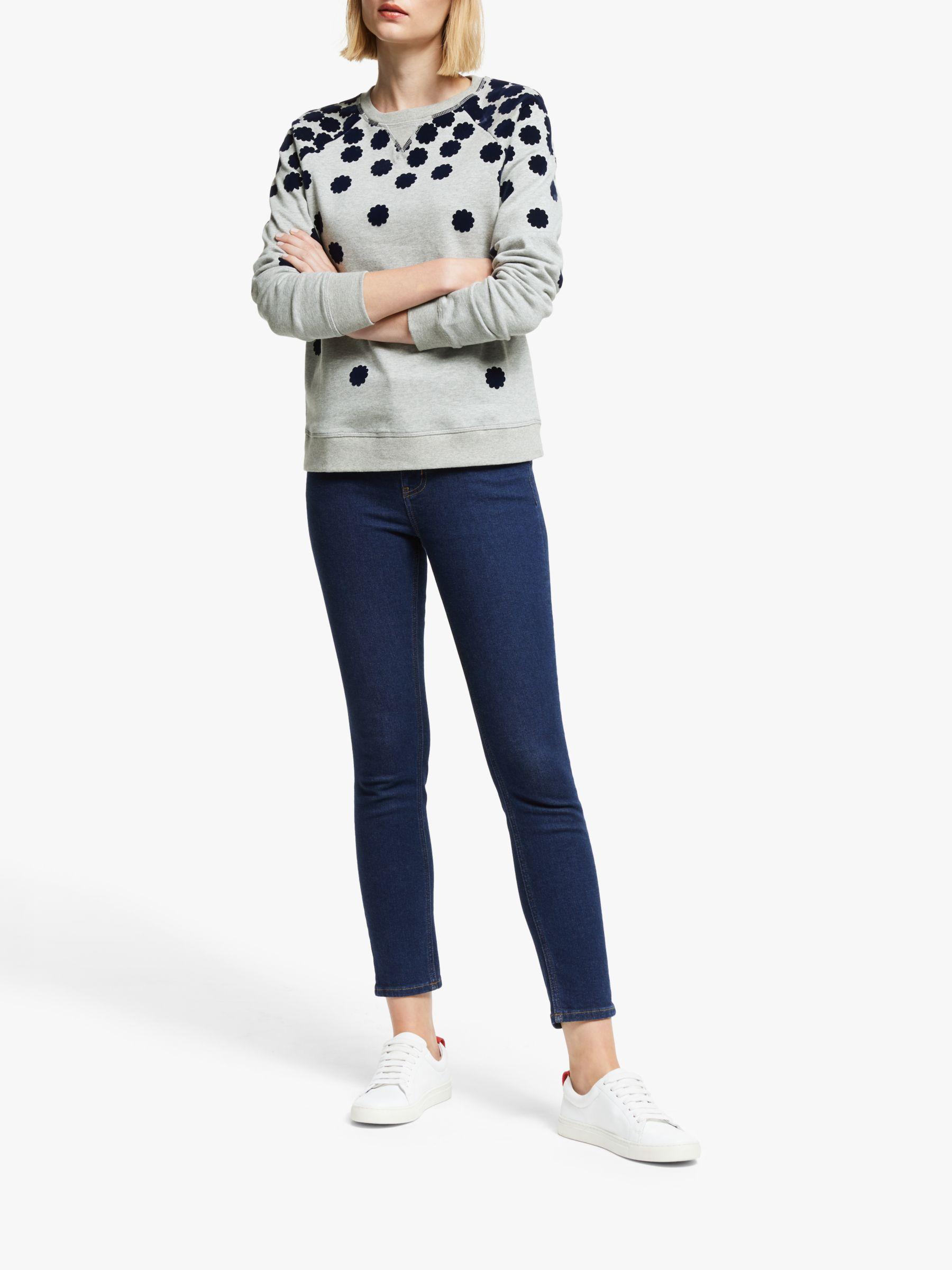 Boden Boden Floral Sweatshirt, Navy Grey Marl