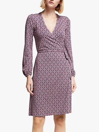 Boden Elodie Jersey Tile Print Wrap Dress, Conker