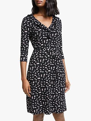Boden Logan Floral V-Neck Dress, Black/Painted Daisy