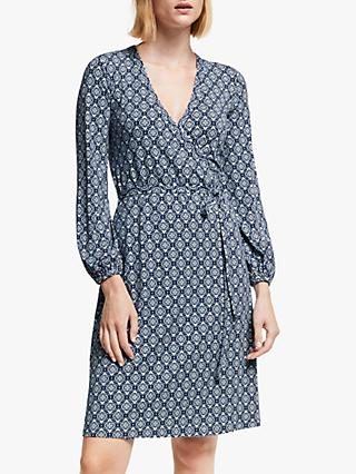 Boden Elodie Wrap Dress, Heritage Blue