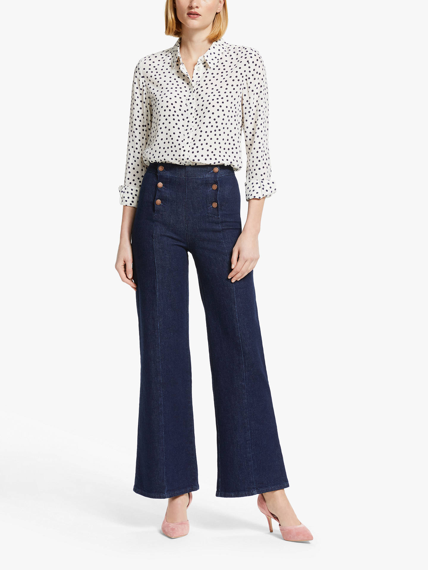 Buy Boden Sailor Wide Leg Jeans, Indigo, 8 Online at johnlewis.com