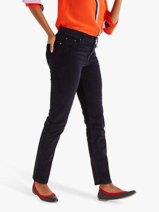 Boden Straight Slim Cord Jeans, Navy