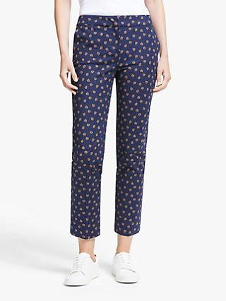 Boden Richmond 7/8 Trousers, Navy/Pumpkin