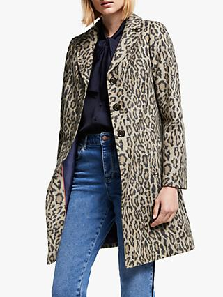 Boden Stanhope Animal Print Tailored Coat, Leopard