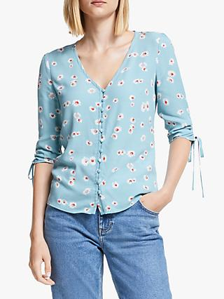 Boden Libby Floral Top, Blue Painted Daisy