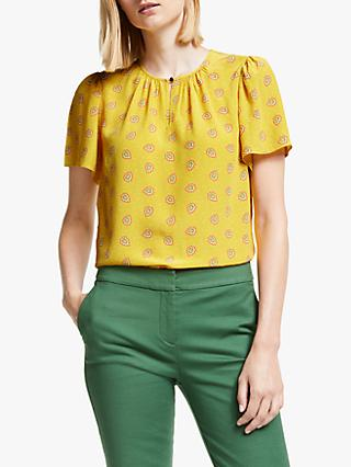 Boden Phoebe Printed Top, Yellow