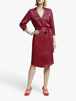 Boden Florence Tie Waist Dress, Post Box Red