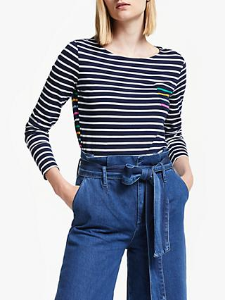 Boden Rainbow Stripe Breton Top, French Navy/Multi
