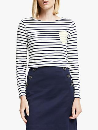 Boden Contrast Stripe Breton Top, Ivory/Gold Metallic