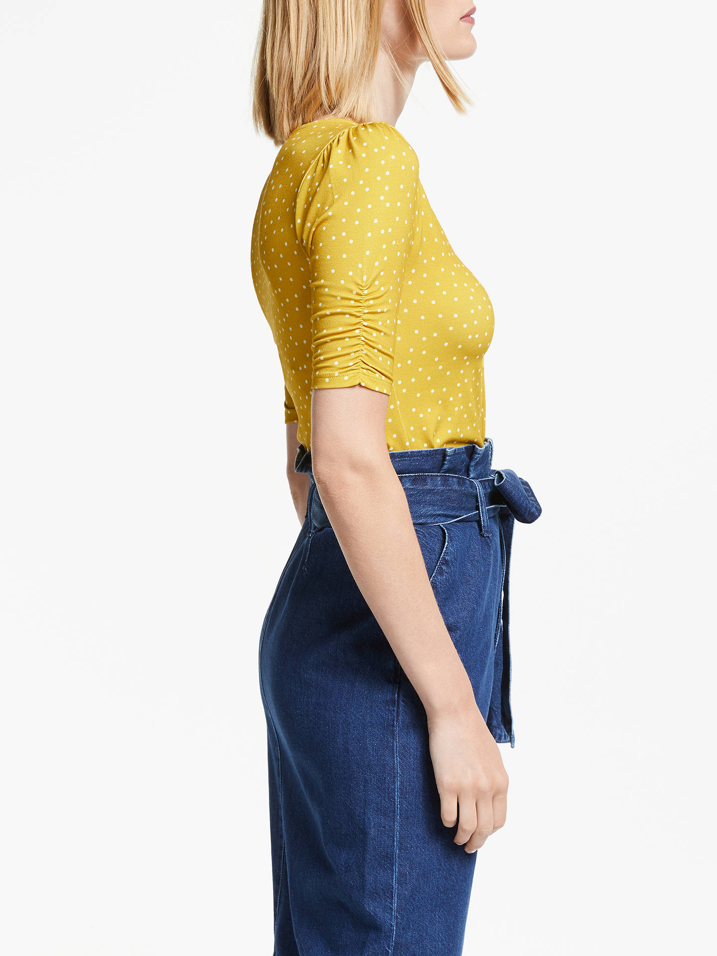 Buy Boden Jane Spot Jersey Top, Yellow, 8 Online at johnlewis.com
