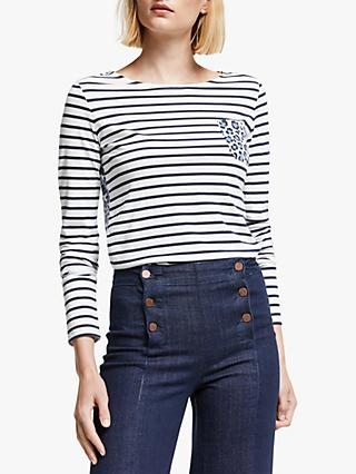 Boden Breton Animal Pocket T-Shirt, White/Leopard