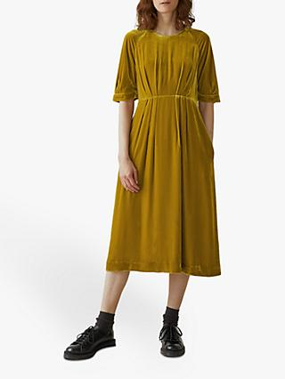 Toast Silk Velvet Dress, Gold