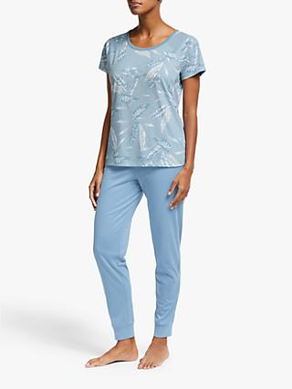 John Lewis & Partners Casca Leaf Print Short Sleeve Pyjama Set, Blue
