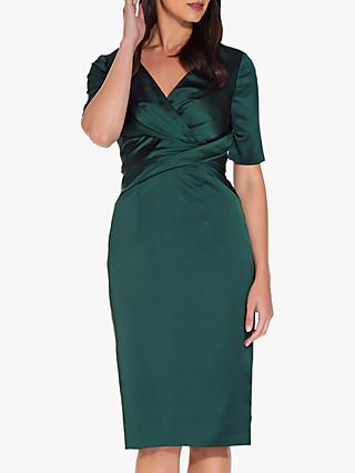 Adrianna Papell Satin Wrap Cocktail Dress, Forest Green