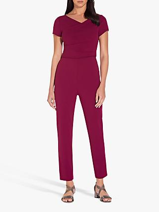 Adrianna Papell Knitted Crepe Jumpsuit, Raspberry Wine