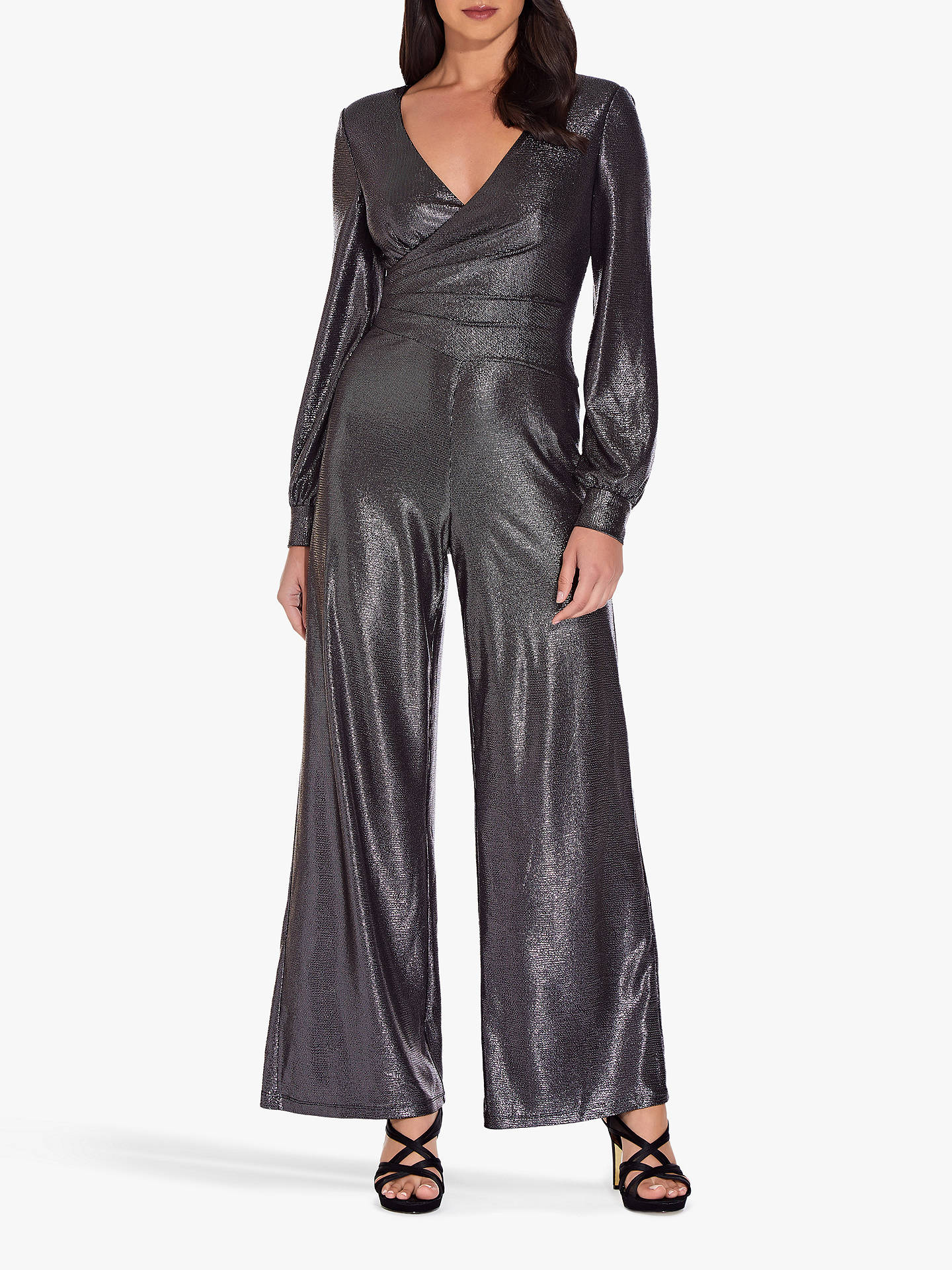 search for authentic rational construction best online Adrianna Papell Metallic Jersey Jumpsuit, Black/Gunmetal