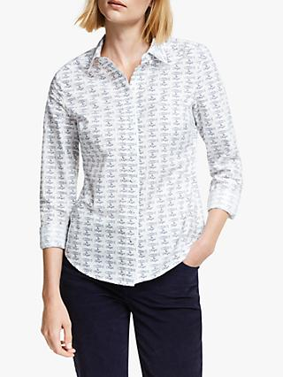 Boden Modern Classic Fish And Chips Cotton Shirt, Ivory