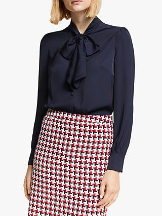 Boden Thelma Tie Neck Blouse, Navy