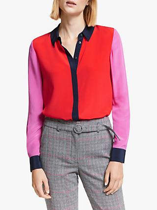 Boden Colour Block Silk Shirt, Red