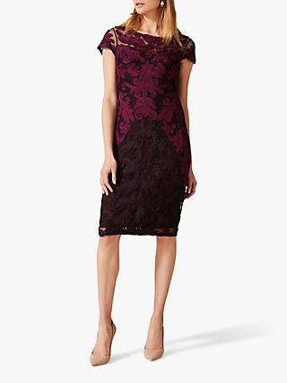 Phase Eight Aida Tapework Dress, Port