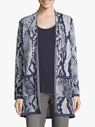 Betty & Co Snake Print Cardigan, Classic Blue
