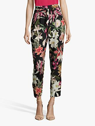 Betty & Co. Floral Trousers, Black/Purple
