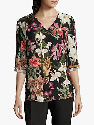 Betty & Co. Floral Print Blouse, Black/Purple