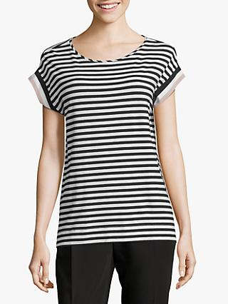 Betty & Co Striped Short Sleeve T-Shirt, Black/Cream