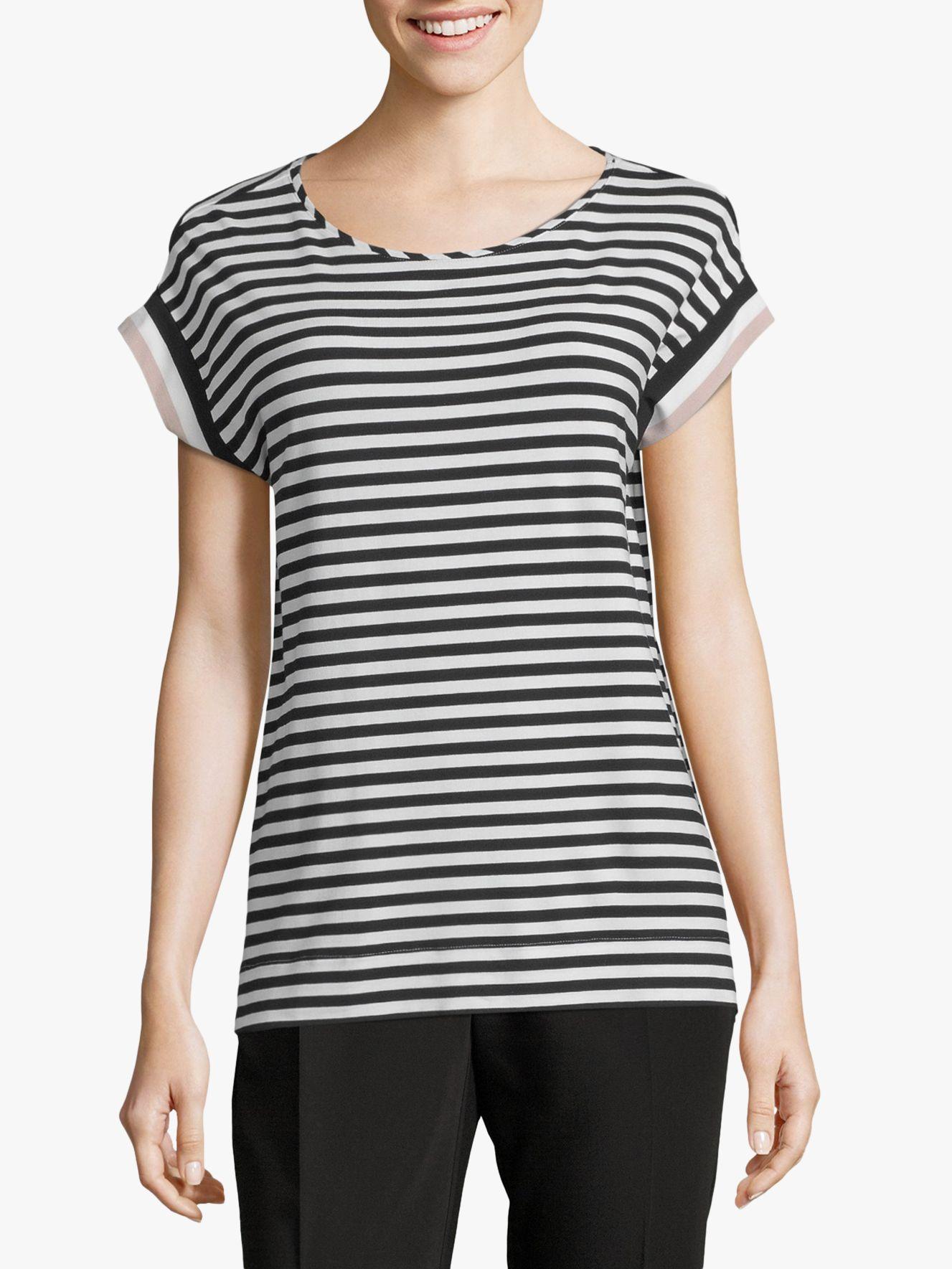 Betty Barclay Betty & Co Striped Short Sleeve T-Shirt, Black/Cream