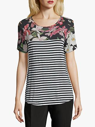 Betty & Co. Floral Stripe Top, Cream/Black