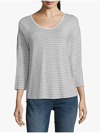 Betty & Co. Striped Top, Silver/Cream