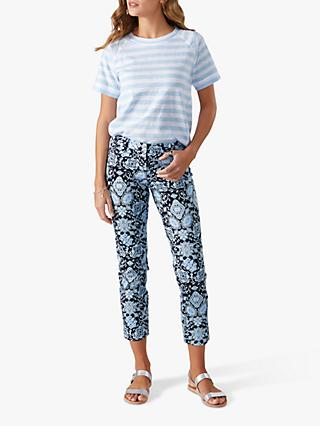 Pure Collection Capri Trousers, Blue Ornate Tile