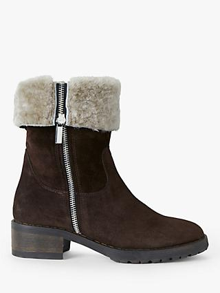 John Lewis & Partners Olwen Suede Sherling Lined Ankle Boots, Brown