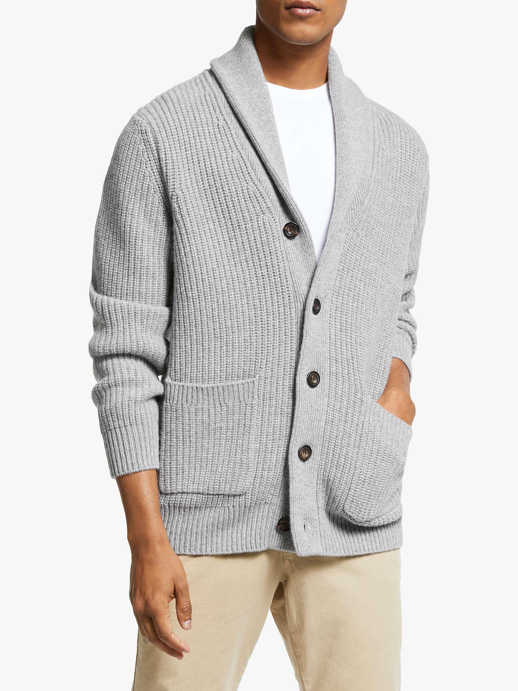 John Lewis & Partners Wool Cashmere Shawl Collar Cardigan, Grey Melange by John Lewis
