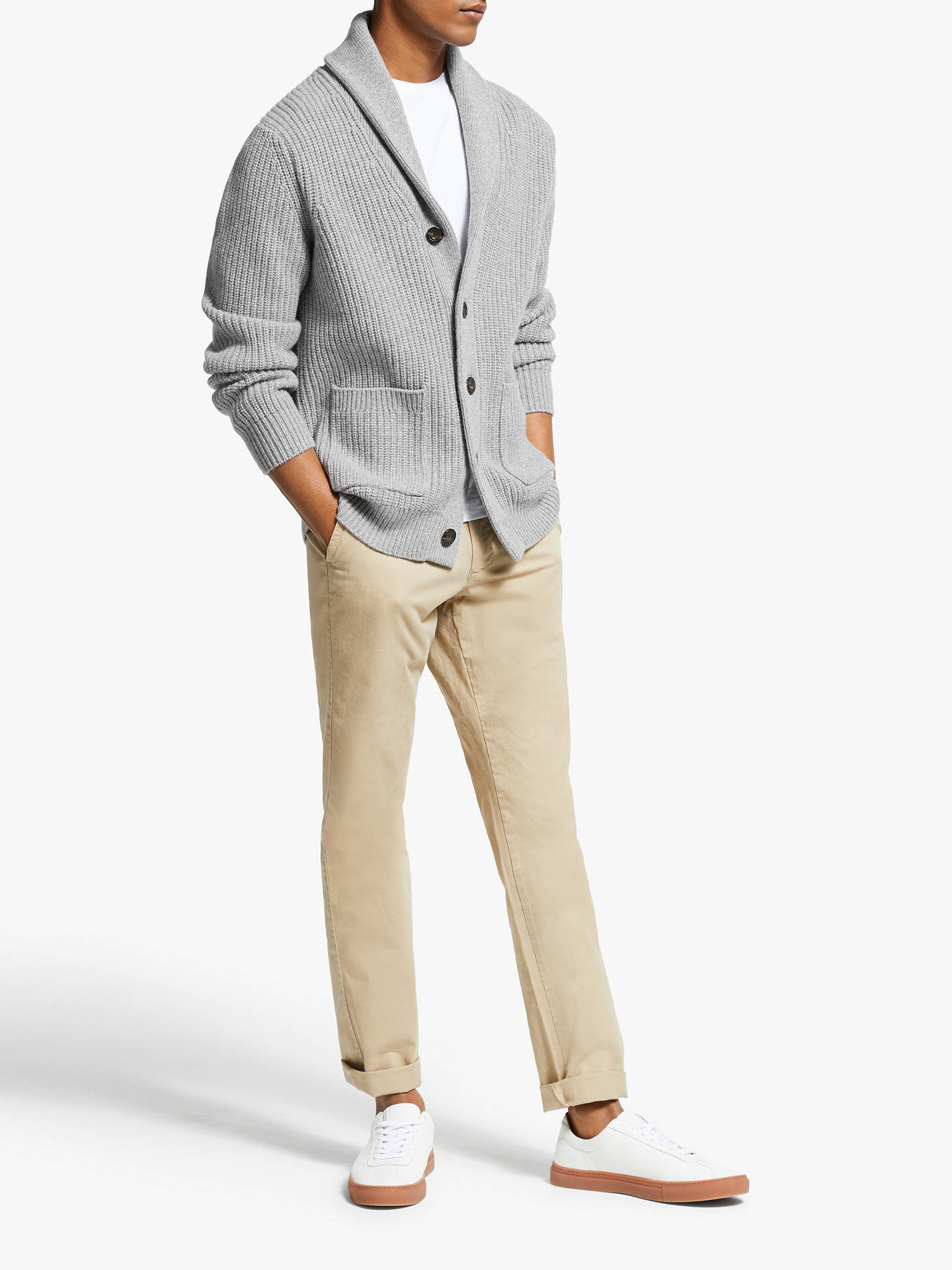 John Lewis & Partners Wool Cashmere Shawl Collar Cardigan at