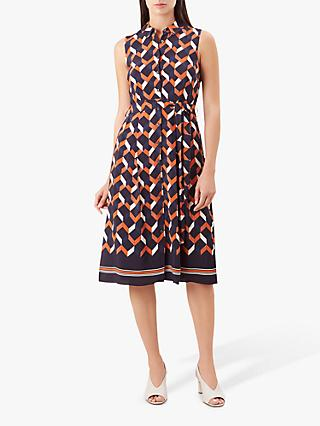 Hobbs Suzanna Chevron Print Button Dress, Navy/Multi