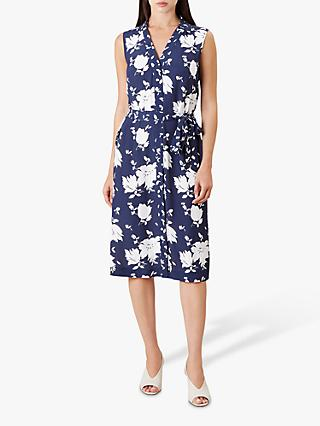 Hobbs Kimberley Floral Flared Dress, Navy/Ivory