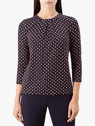 Hobbs Julia Abstract Print Blouse, Navy/Cayenne