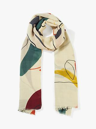 Jigsaw Abstract Print Wool Scarf, Multi