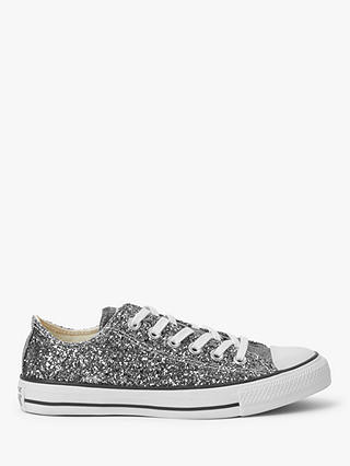 Buy Converse Chuck Taylor All Star Glitter Low-Top Trainers, Silver/Black/White, 4 Online at johnlewis.com