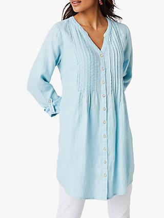 White Stuff Mia Linen Tunic Top, Chambray Blue