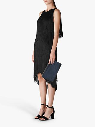 Whistles Fringe Detail Dress, Black