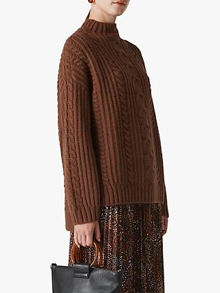 Whistles Oversized Chunky Cable Knit Jumper, Brown