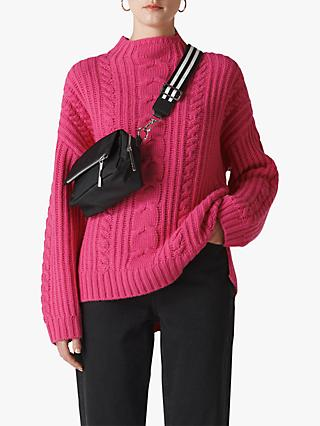 Whistles Chunky Cable Knit Jumper, Pink