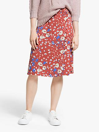 Numph Medrie Animal Print Skirt, Mahogany