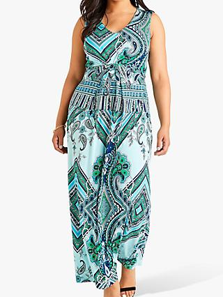 Yumi Curves Long Ocean Paisley Dress, Blue/Multi