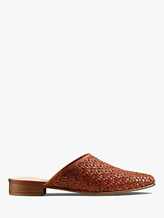 Clarks Pure Blush Leather Weave Mules