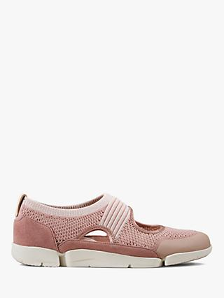 Clarks Tri Tone Slip On Trainers, Mauve