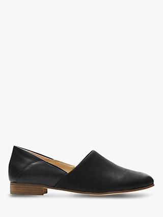 Clarks Pure Tone Leather Flats, Black